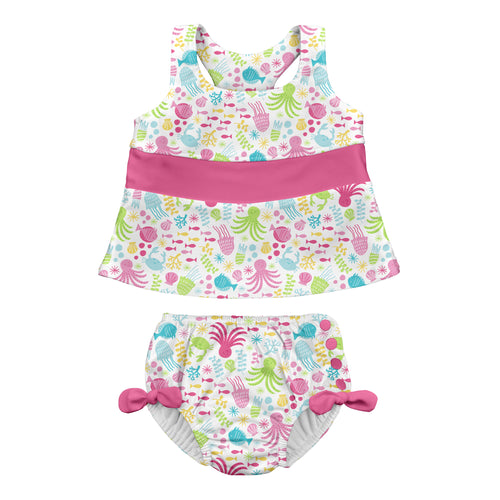 Bow Tankini Swimsuit Set with Snap Reusable Absorbent Swim Diaper-White Sea Pals