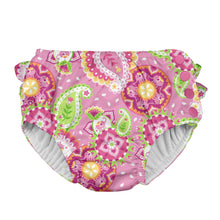 Load image into Gallery viewer, Mix & Match Ruffle Snap Reusable Absorbent Swimsuit Diaper-Light Pink Paisley Elephant