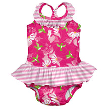 Load image into Gallery viewer, Tropical 1pc Ruffle Swimsuit w/Built-in Reusable Absorbent Swim Diaper-Fuchsia Hummingbird