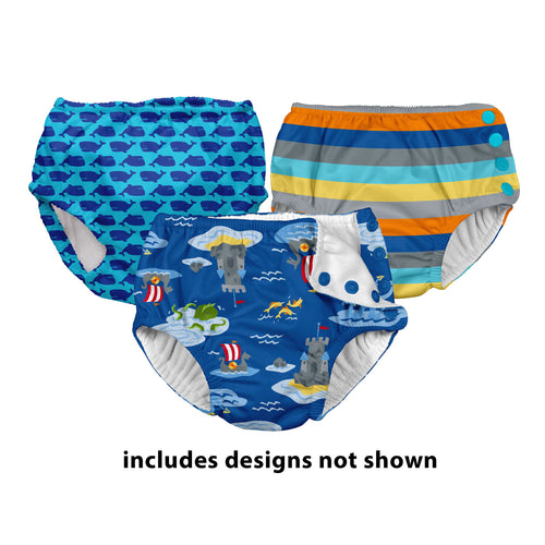 Assorted Print Snap Reusable Swim Diaper-Assorted Boys 3pk