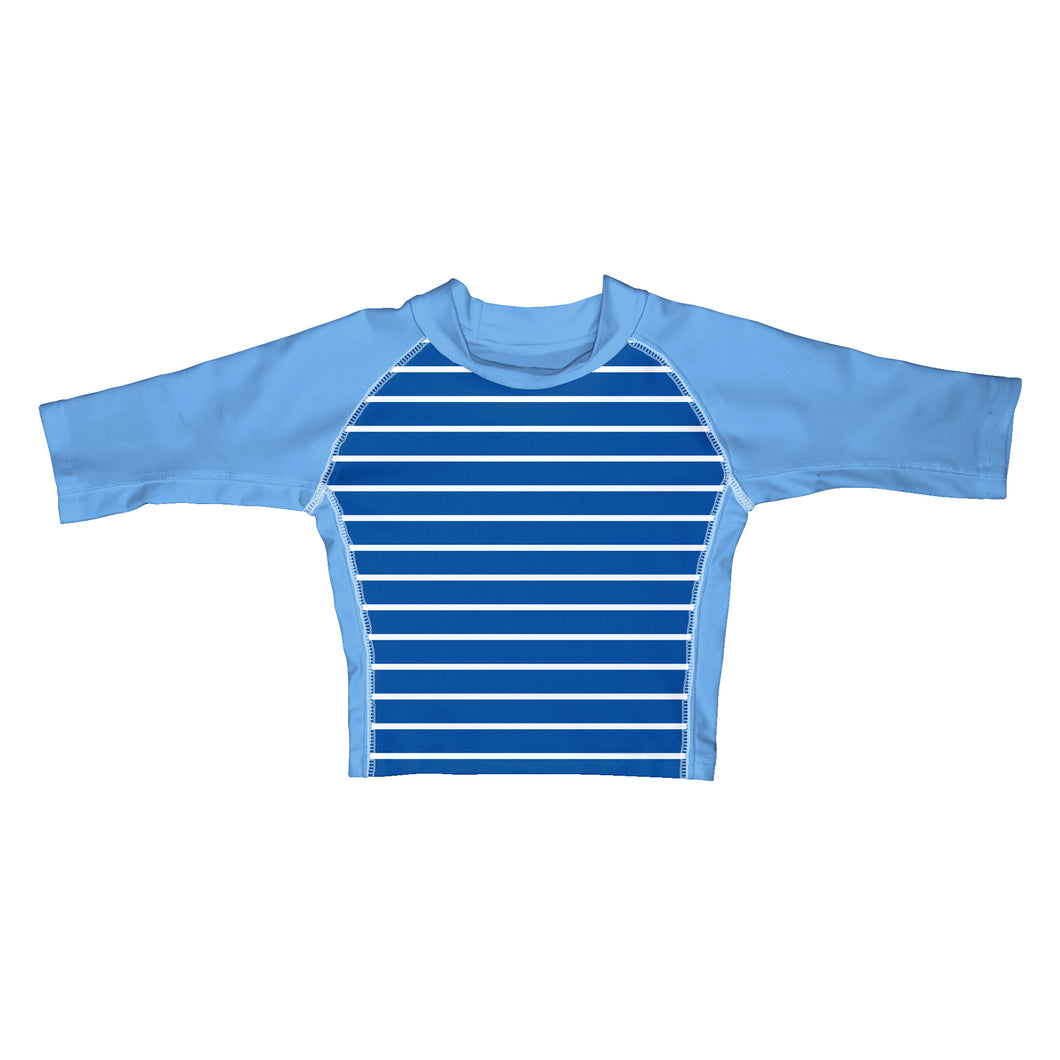 Classic Three-quarter Sleeve Rashguard Shirt-Royal Stripe