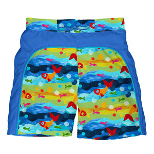 Mix & Match Board Shorts w/Built-in Reusable Absorbent Swim Diaper-Multi Fish Bubbles