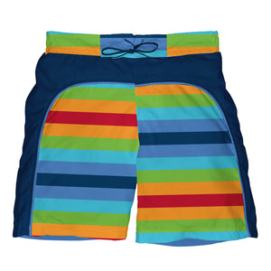 Mix & Match Board Shorts w/Built-in Reusable Absorbent Swim Diaper-Multi Stripe