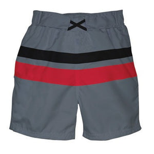 Mod Block Trunks w/Built-in Reusable Absorbent Swim Diaper-Grey & Black/Red Block