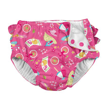 Load image into Gallery viewer, Mix & Match Ruffle Snap Reusable Absorbent Swimsuit Diaper-Hot Pink Cabana