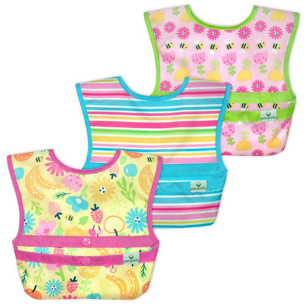 Snap & Go™  Easy-wear Bib (3 pack) 9-18 mo -  Pink Bee Floral