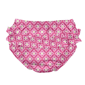 Mix & Match Ruffle Snap Reusable Absorbent Swimsuit Diaper-Hot Pink Diamond Flower