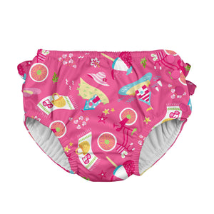 Mix & Match Ruffle Snap Reusable Absorbent Swimsuit Diaper-Hot Pink Cabana