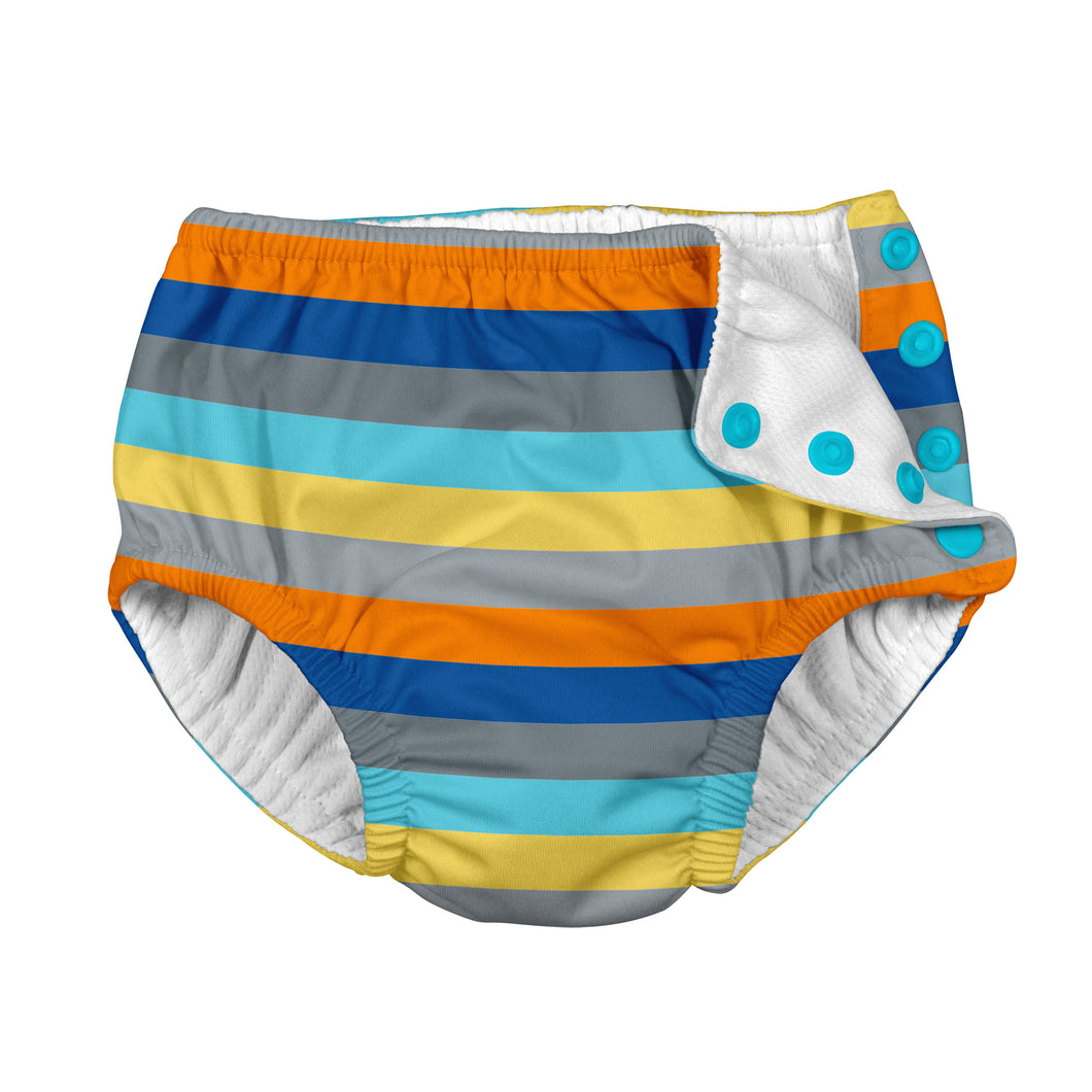 Mix & Match Snap Reusable Absorbent Swimsuit Diaper-Gray Multistripe