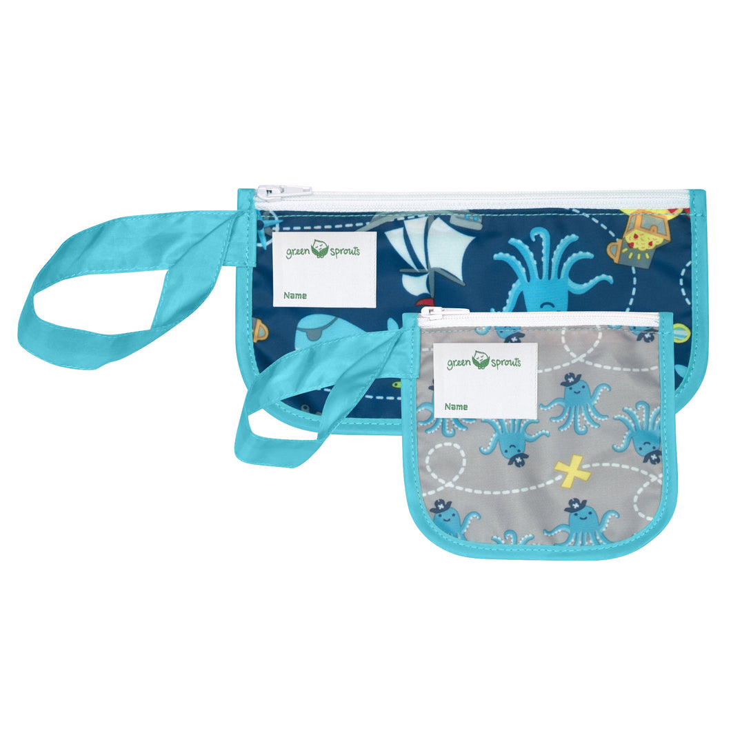 Reusable Snack Bags (2 pack)-Aqua Pirate
