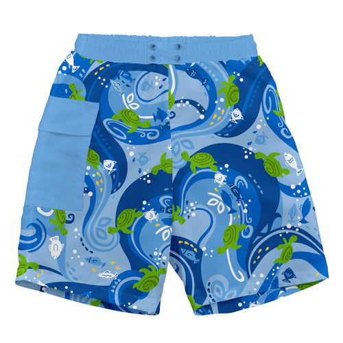 Tropical Pocket Trunks w/Built-in Reusable Absorbent Swim Diaper-Blue Turtle Batik