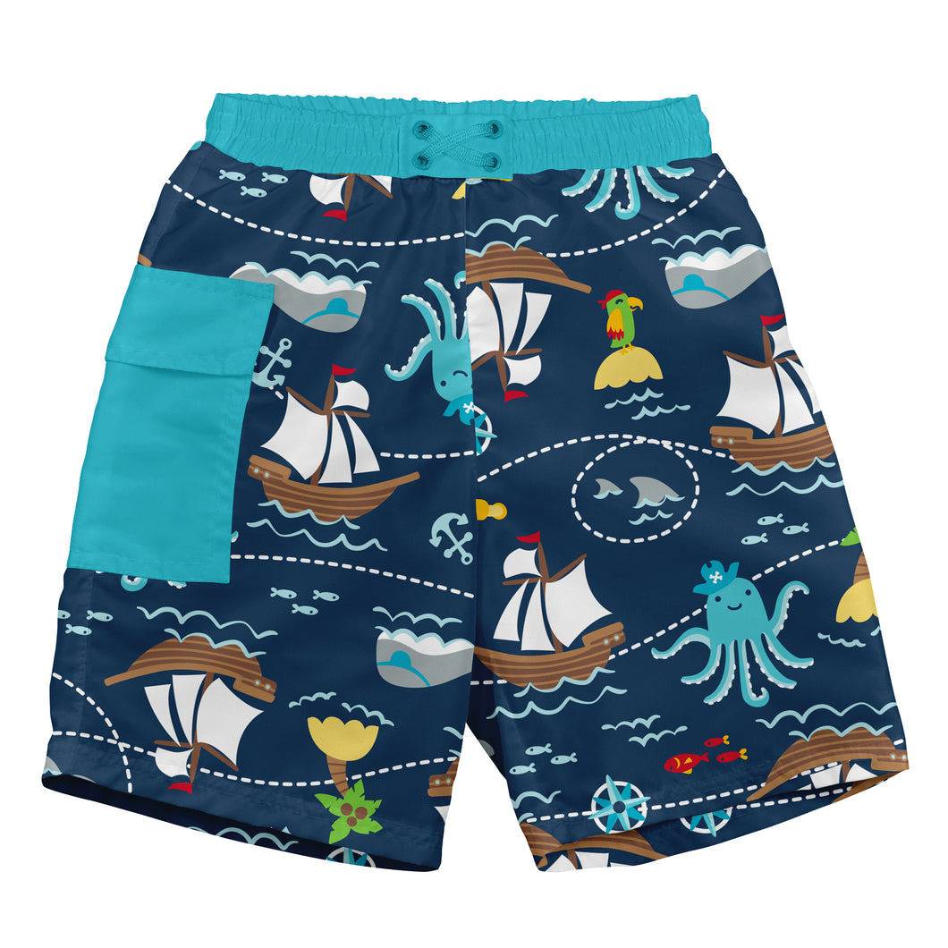 Pocket Trunks with Built-in Reusable Absorbent Swim Diaper-Navy Pirate Ship
