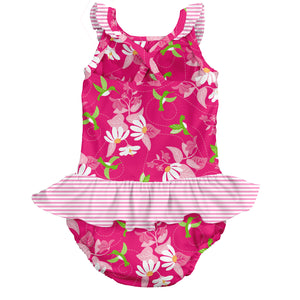 Tropical 1pc Ruffle Swimsuit w/Built-in Reusable Absorbent Swim Diaper-Fuchsia Hummingbird