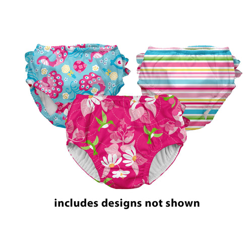 Assorted Print Snap Reusable Swim Diaper-Assorted Girl 3pk