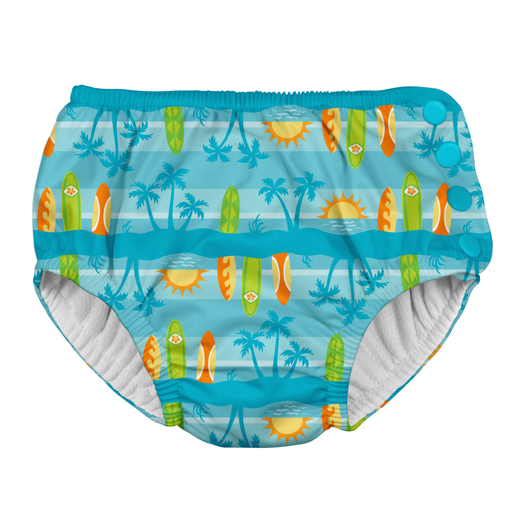 Snap Reusable Absorbent Swimsuit Diaper-Aqua Surfboard Sunset