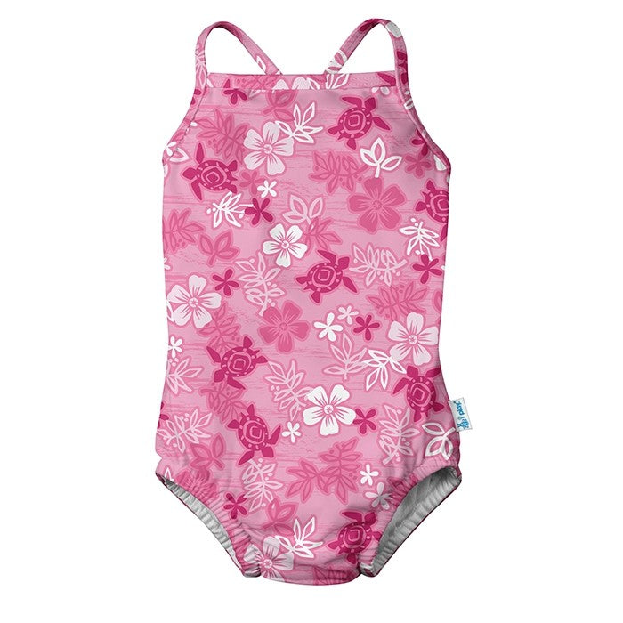1pc Ruffle Swimsuit with Built-in Reusable Absorbent Swim Diaper-Pink Hawaiian Turtle