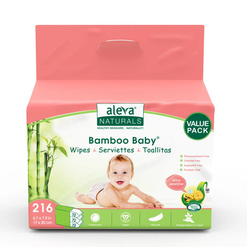 Aleva Natural Bamboo Baby Sensitive Wipes - 216ct