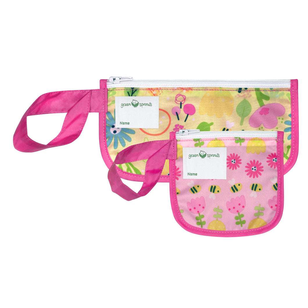 Reusable Snack Bags (2 pack)-Pink Bee Floral
