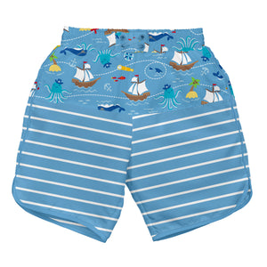 Mix & Match Board Shorts w/Built-in Reusable Absorbent Swim Diaper-Light Blue Pirate Ship