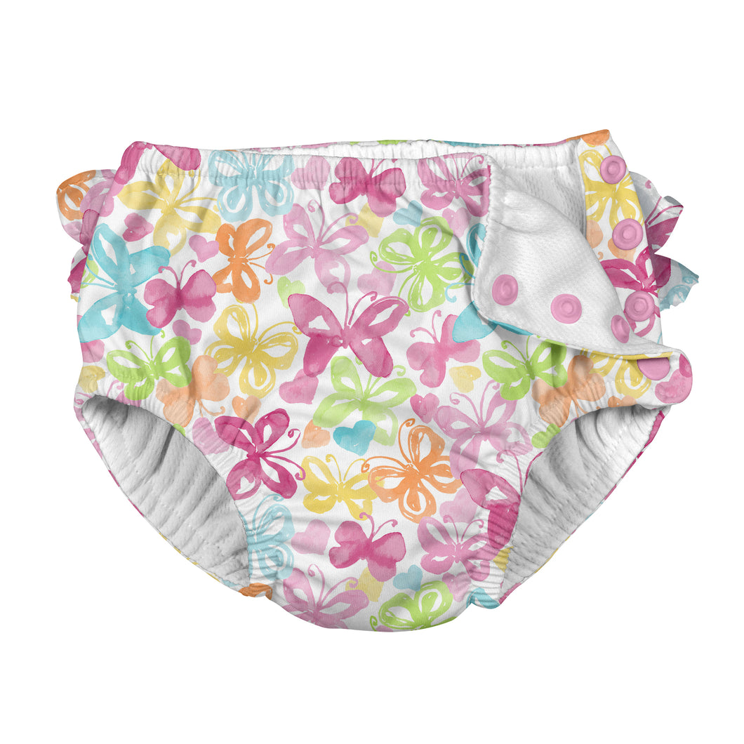 Tropical Ruffle Snap Reusable Absorbent Swimsuit Diaper-White Butterfly