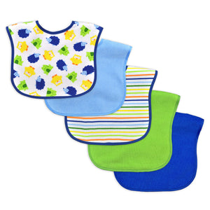 Waterproof Absorbent Full Coverage Terry Bib 5pk-9/18mo