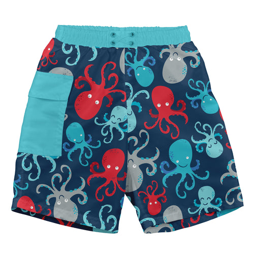 Pocket Trunks with Built-in Reusable Absorbent Swim Diaper-Navy Octopus