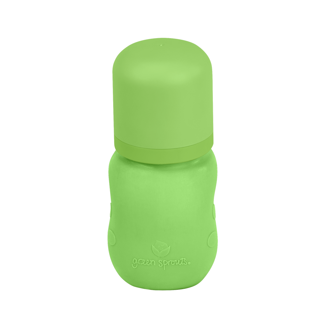 Baby Bottle made from Glass w Silicone Cover-5oz-Green-0mo+