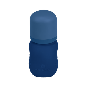 Baby Bottle made from Glass w Silicone Cover-5oz-Navy-0mo+