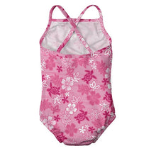 Load image into Gallery viewer, 1pc Ruffle Swimsuit with Built-in Reusable Absorbent Swim Diaper-Pink Hawaiian Turtle