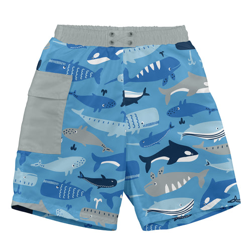 Pocket Trunks with Built-in Reusable Absorbent Swim Diaper-Blue Whale League