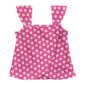 Classic Ruffle Swimsuit Top-Hot Pink Daisy