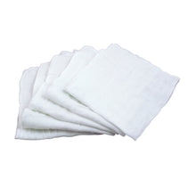 "Load image into Gallery viewer, Muslin Face Cloths made from Organic Cotton (5pk)-White Set-12"" x 12"""