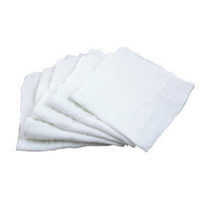 "Muslin Face Cloths made from Organic Cotton (5pk)-White Set-12"" x 12"""