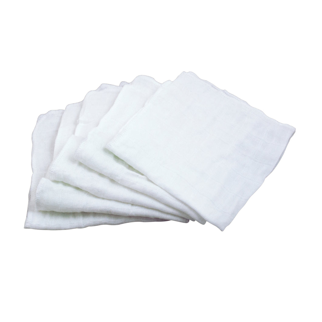 Muslin Face Cloths made from Organic Cotton (5pk)-White Set-12