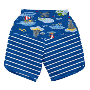 Mix & Match Board Shorts w/Built-in Reusable Absorbent Swim Diaper-Royal Viking Sea