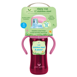 Sippy Cup made from Stainless Steel- 6oz-Pink-6mo+