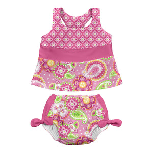 Mix & Match 2pc Bow Tankini Set w/Built-in Reusable Absorbent Swim Diaper-Lt Pk Paisley Elephant