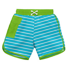 Load image into Gallery viewer, Classic Pocket Board Shorts w/Built-in Reusable Absorbent Swim Diaper-Aqua Stripe