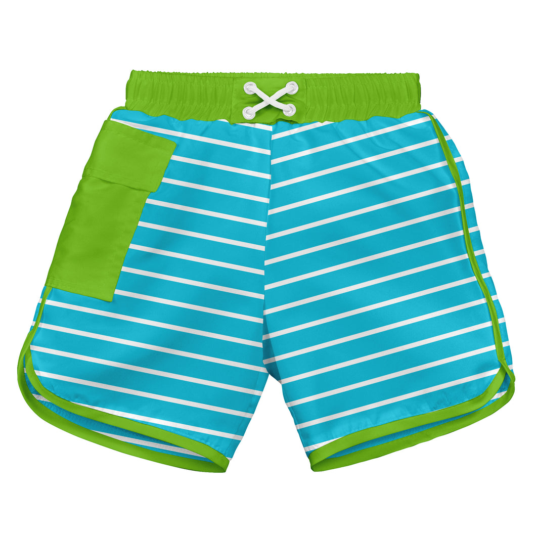 Classic Pocket Board Shorts w/Built-in Reusable Absorbent Swim Diaper-Aqua Stripe