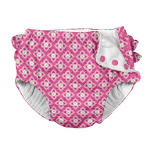 Load image into Gallery viewer, Mix & Match Ruffle Snap Reusable Absorbent Swimsuit Diaper-Hot Pink Diamond Flower