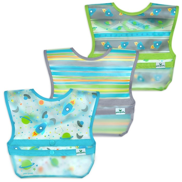 Snap & Go™ Wipe-off Bib (3 pack) 9-18mo - Aqua Space