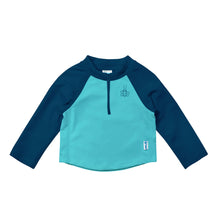 Load image into Gallery viewer, Long Sleeve Zip Rashguard Shirt-Navy & Aqua Colourblock