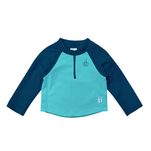 Long Sleeve Zip Rashguard Shirt-Navy & Aqua Colourblock