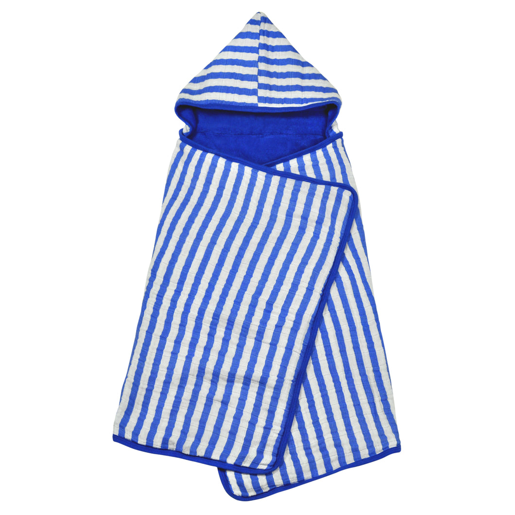 Muslin Hooded Towel made from Organic Cotton-Blue-0mo/4yr