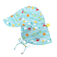 Load image into Gallery viewer, Flap Sun Protection Hat-Light Aqua Sea Friends