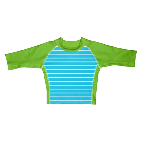 Classic Three-quarter Sleeve Rashguard Shirt-Aqua Stripe