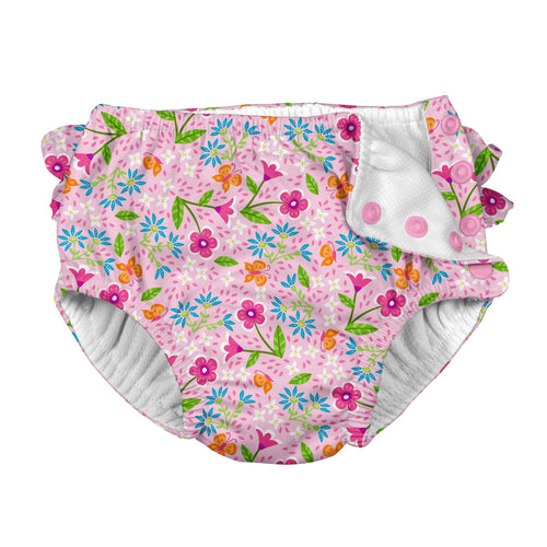 Fun Ruffle Snap Reusable Absorbent Swimsuit Diaper-Pink Spring Garden