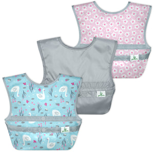 Snap & Go Easy-wear Bibs (3pk)-Aqua Swan-9/18mo