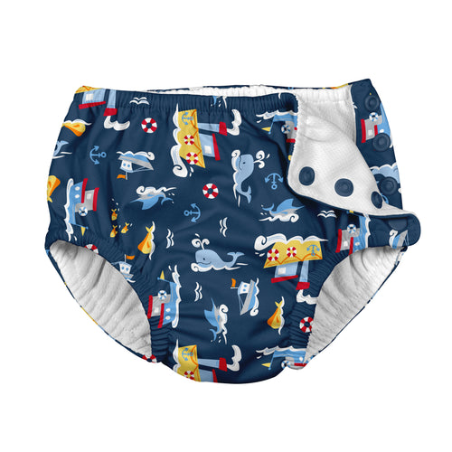 Fun Snap Reusable Absorbent Swimsuit Diaper-Navy Tugboat