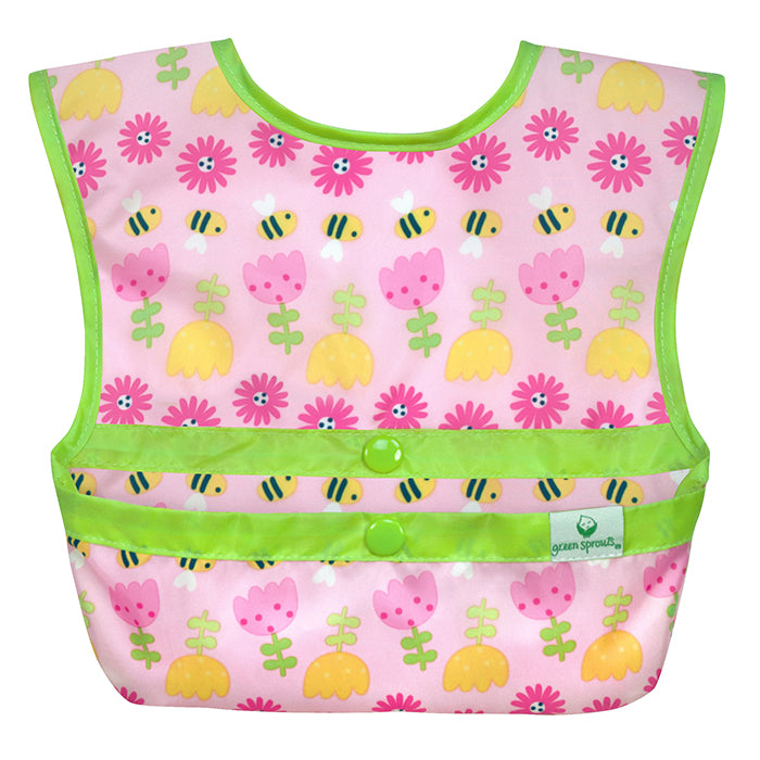 Snap & Go Easy-wear Bib-Pink Bee Floral Geo-9/18mo